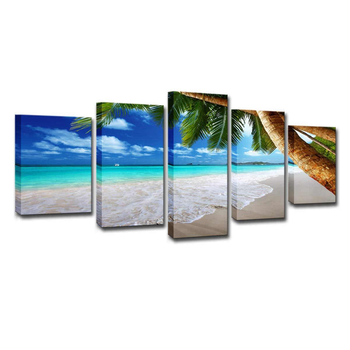 Palmera creativa de 5 pizarras, playa de isla, cielo azul ...