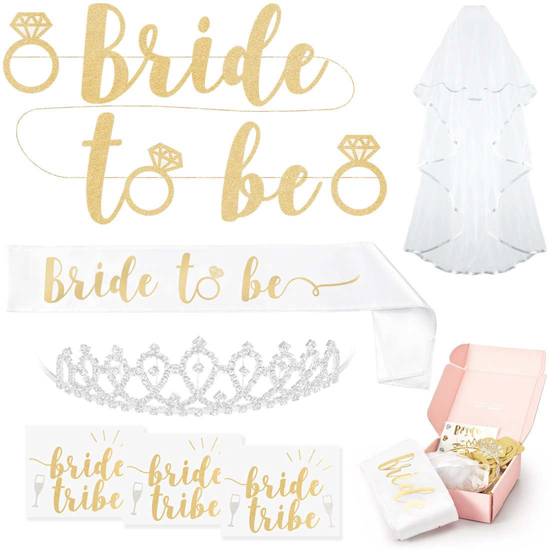 xo, Fetti Bachelorette Party Bride To Be Decorations Kit - Bridal Shower Supplies | Sash For Bride, Rhinestone Tiara, Gold and Silver Banner, Veil + Bride Tribe Flash Tattoos by xo, Fetti