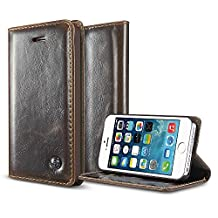 iPhone 5S Case, iPhone SE Case,BELK Retro Brown Vintage Leather Wallet Flip Case Handmade Premium Waxy Folio Cover for iPhone 5S/iPhone SE