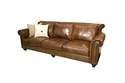 Elements Paladia Top Grain Leather Sofa, Rustic Leather