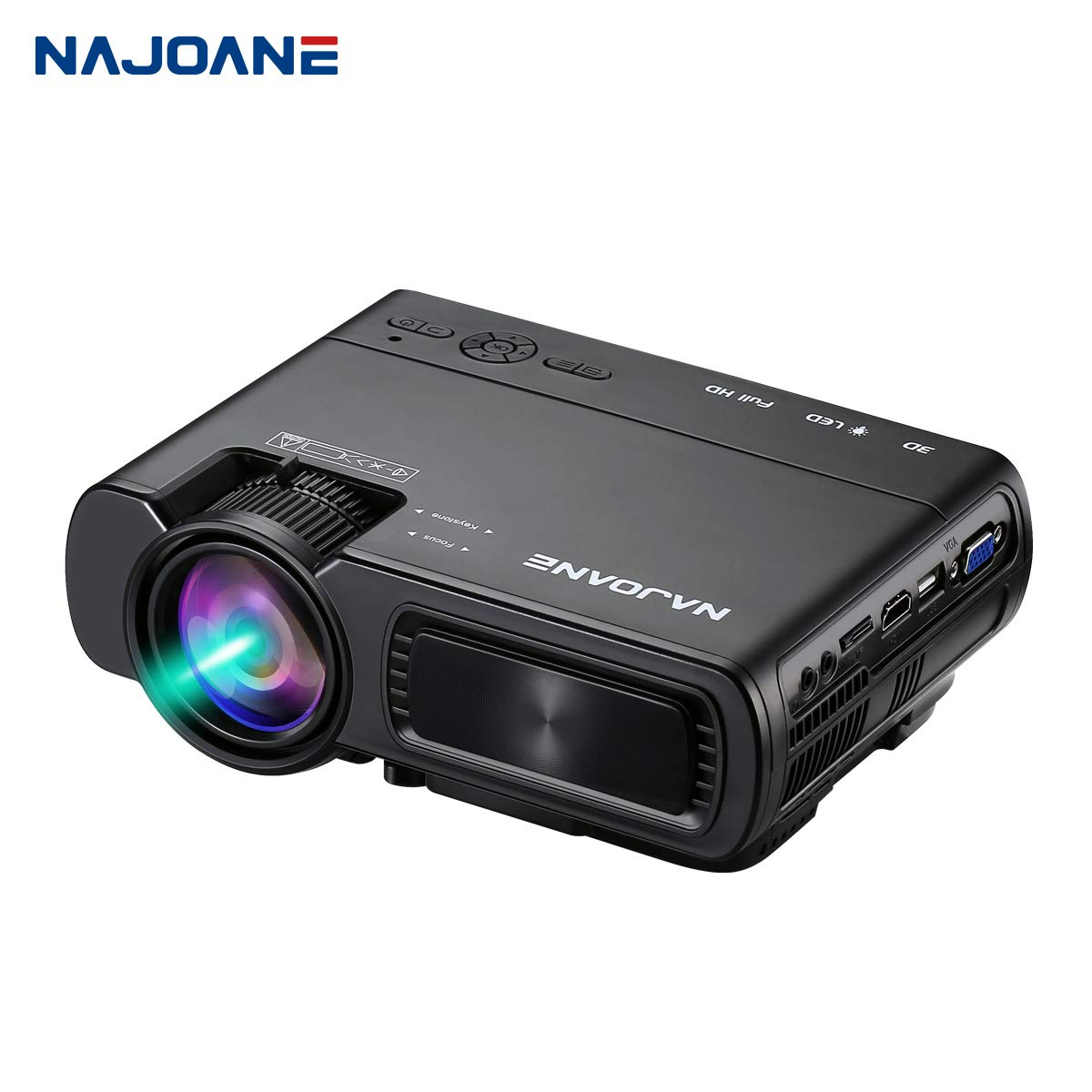 Najoane Mini Projector, Full HD LED Projector The Biggest is 1080P Supported Movie Projector, Portable Movie Projector with 55,000 Hrs LED Lamp Life, 2019 Upgrade for Home Theater Entertainment,Video