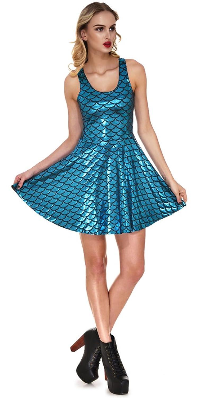 Amazon.com: Jescakoo Women\'s Shiny Mermaid Sleeveless Short Tank ...