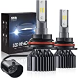 SEALIGHT 9007 HB5 led headlight bulbs Hi/Lo Beam,Smallest Size,Super Bright 12xCSP Chips Conversion Kit Dual beam Bulb 6000LM 6000K White(Pack of 2)