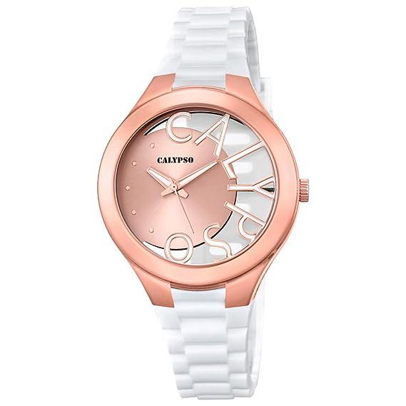 Calypso de mujer reloj de pulsera Fashion Analog PU de pulsera color Blanco Reloj de cuarzo esfera Cobre uk5678/1: Calypso: Amazon.es: Relojes