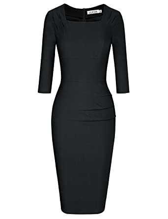 JUESE Womens 1950s New Look Cause Formal 3/4 Sleeve Pencil Dress