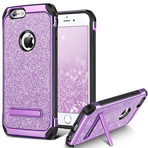 BENTOBEN Case for iPhone 6S/iPhone 6, Bling Hybrid Hard Cover Soft Bumper Laminated with Luxury Shiny Leather Shockproof Bumper Protective Phone Case with Kickstand for 4.7 inch iPhone 6S/6,Purple