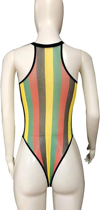 Women Rave Rainbow Striped Push Up Swimsuit Bikini See Through Mesh Bodysuit Beachwear for Dance Festivals