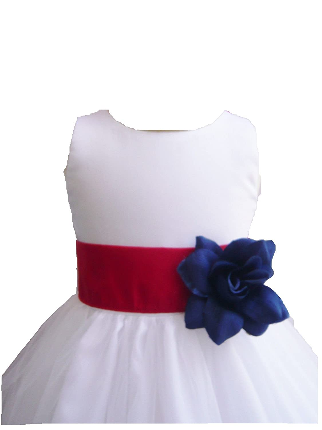 d58cf4a8ddc Amazon.com  HMF White red white blue Flower Girl Dress with Loose red white  blue Petal  Clothing