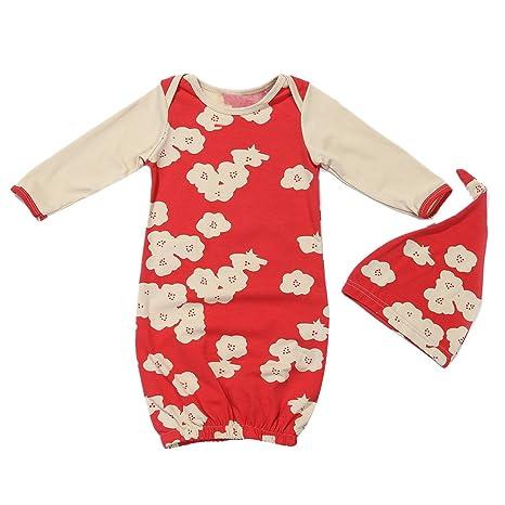 domybest 2pcs bebé recién nacido infantil manga larga floral impreso algodón saco de dormir + gorro