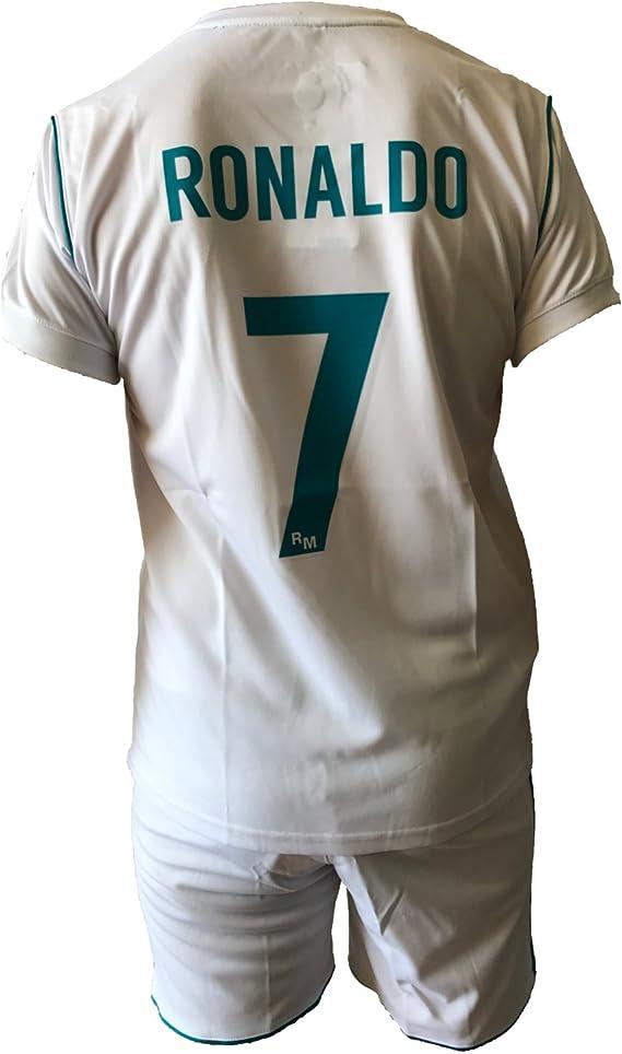 Conjunto Equipacion Camiseta Pantalones Futbol Real Madrid Cristiano Ronaldo 7 Replica Autorizado 2017-2018 Niños Adultos (Talla 2 Años): Amazon.es: Deportes y aire libre