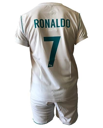 9b3dcc27e8ee1 Conjunto Equipacion Camiseta Pantalones Futbol Real Madrid Cristiano  Ronaldo 7 Replica Autorizado 2017-2018 Niños