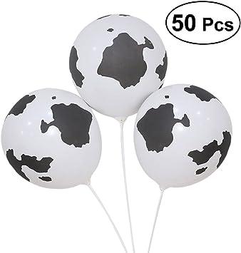 Comprar YeahiBaby 50Pcs Globos de Látex de Impresión Vaca, 12 Pulgadas Divertidos Globos de Vaca de Granja Favores de Partido Suministros para la Decoración de la Boda de Cumpleaños