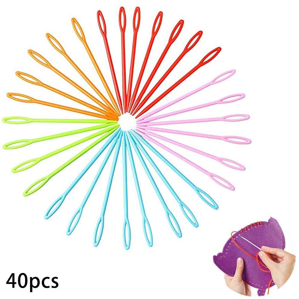 Binca y tapiz Paquete de 40 agujas de pl/ástico multicolor para ni/ños de 7 cm Para costura