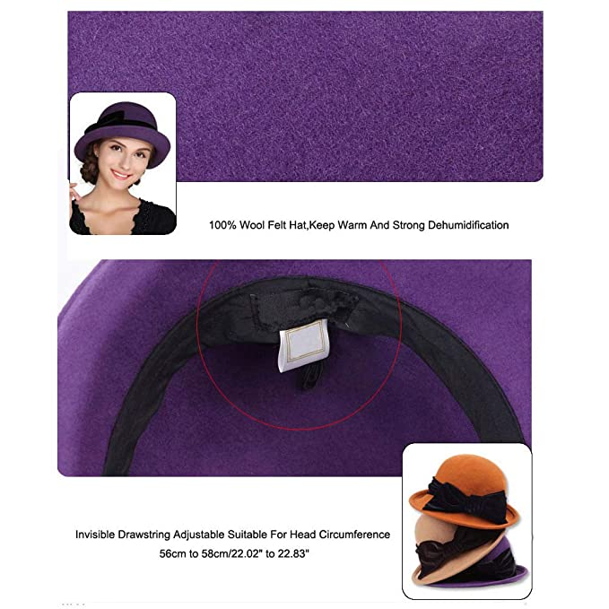 51a663bdd25 FADVES Women Elegant 100% Wool Felt Hat Bowknot Bowler Cap Retro Wide Brim  Church Hats Black at Amazon Women s Clothing store
