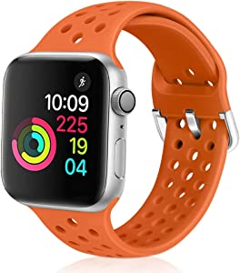 XFYELE Compatible with Apple Watch Band 42mm 44mm, Soft Breathable Sport Silicone Replacement Strap Compatible for iWatch Series 6, 5, 4, 3, 2, 1 for Women and Men (Orange, 42mm/44mm)