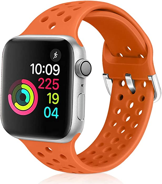 Relting Compatible with Apple Watch Band 38mm 40mm, Soft Silicone Sport Breathable Replacement Strap Compatible for iWatch Series 6, 5, 4, 3, 2, 1 for Women and Men (orange, 38mm/40mm)