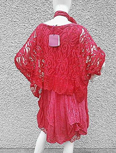 Fashionfolie - Femme Robe Grande taille unique 42 44 46 48 50 DENTELLE haut top mariage soirée chic ROSE FONCE2