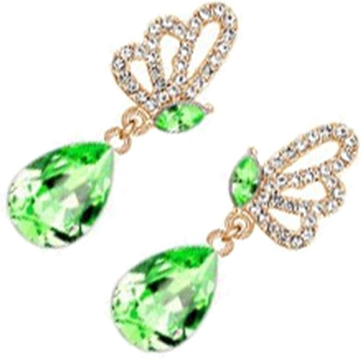 GWG Jewellery Pendientes Mujer Regalo Pendientes, Chapados en Oro 18K Alas de Mariposa Adornadas con Cristales Blancos y Piedra Colgante de Colores Varios en Forma de Gota de Agua para Mujeres