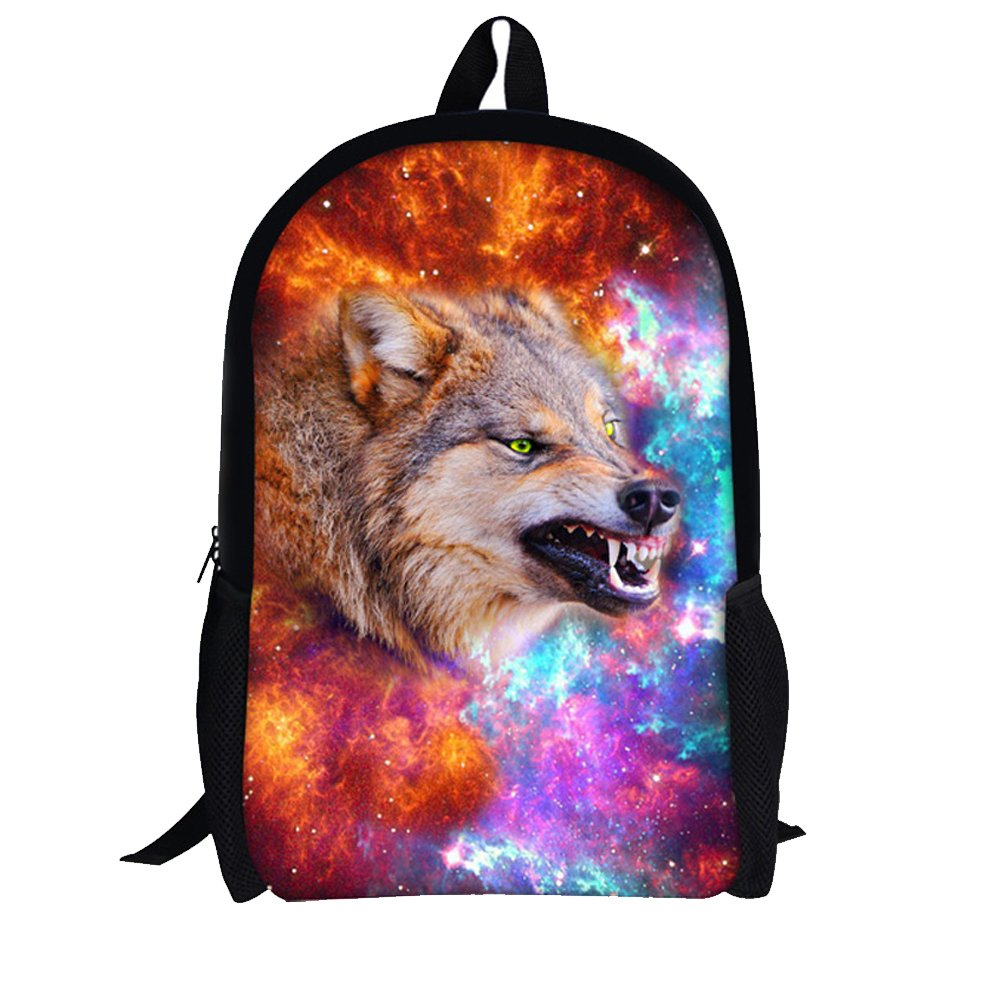 Fire Wolf Youngerbaby Casual Backpack Cat & Dog Print School Bag Students Kids Travel Backpacks (bluee Wolf)