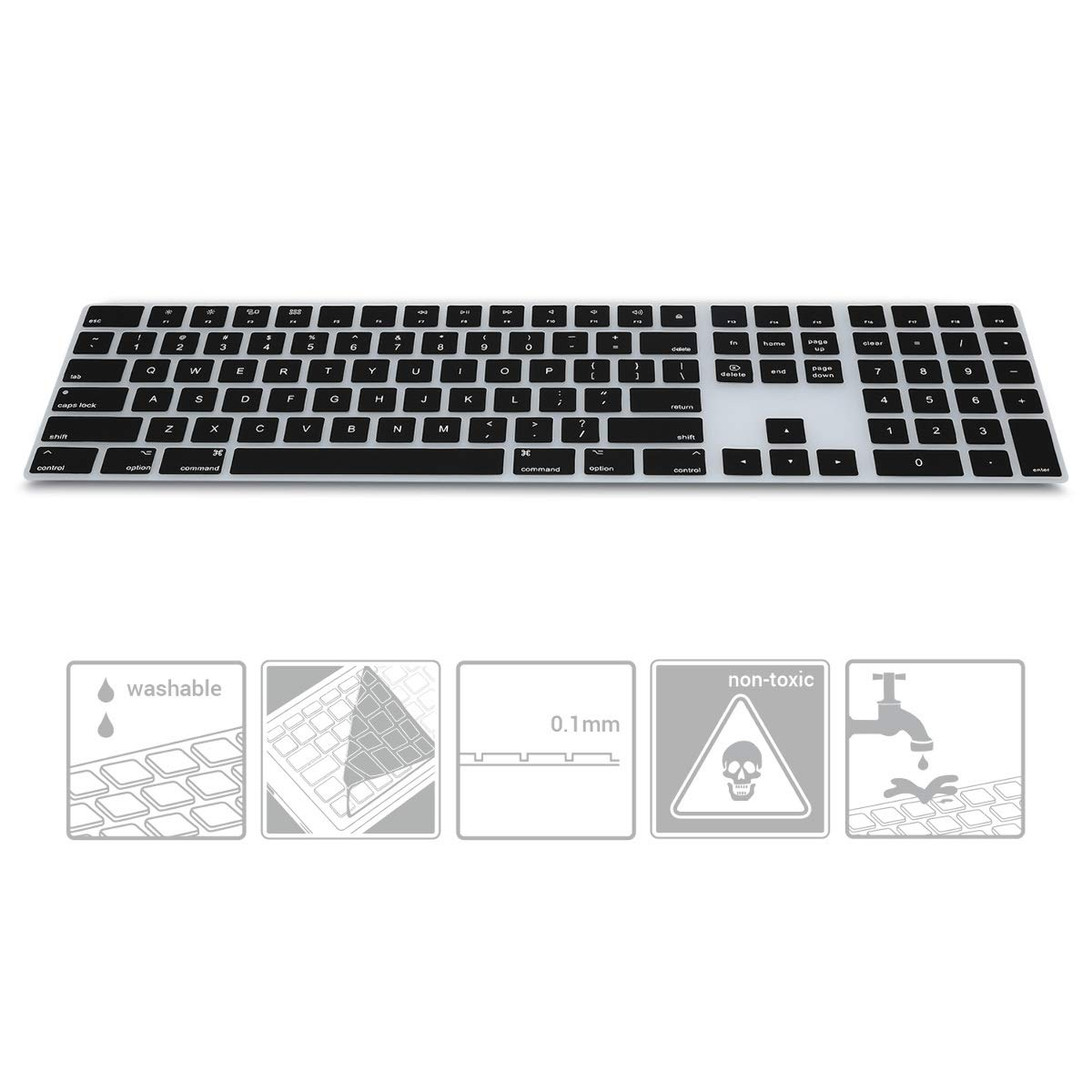effective protection from dirt ultra-thin Keyboard Protector QWERTY kwmobile Rugged Silicone for Apple Magic Keyboard with Numeric Pad in Black US