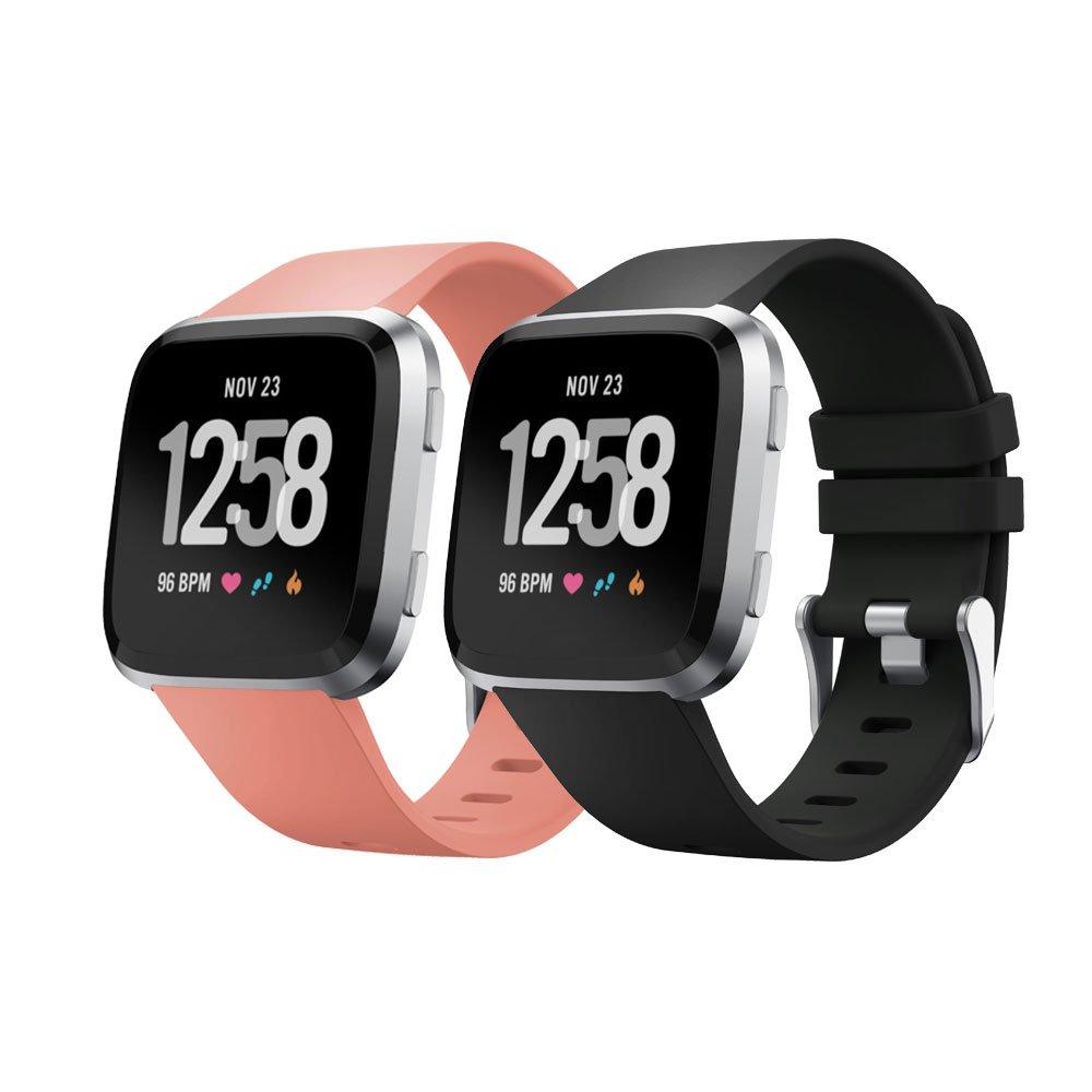 Fitbit Versa交換用シリコンバンド、kisface FitbitアクセサリーWristbandsピュアカラーシリーズストラップfor Fitbit Versa ( 2パック) Large|Black&Pink Black&Pink Large B07BJ6V1Z5