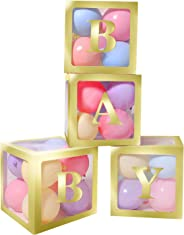 Termichy Baby Shower Boxes Party Decorations, 4 PCS Baby Shower Blocks Transparent with Letter for Girls Boys Birthday Neutra