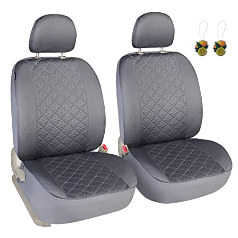 Peachy Leader Accessories Auto Universal Car Truck Seat Covers 2 Fronts Grey Diamond Stitch Design Low Back Alphanode Cool Chair Designs And Ideas Alphanodeonline