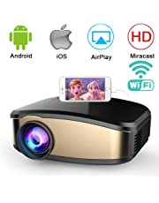 WiFi Video Projector, Weton 50% Brighter Wireless Movie Projector 1080P HD LED Portable Mini Projector Smartphone Home Theater Projectors (WiFi Directly Connect) Support HDMI USB VGA AV SD