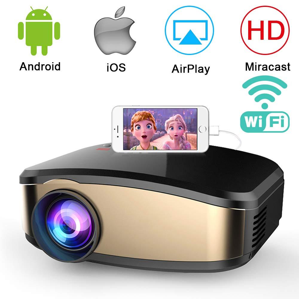 WiFi Beamer (2018 Aufgerüstet), Weton Wireless Mini Beamer 1080P HD LED Video Projektor, +50% Helligkeit 50.000 Stunden Leben, Heimkino Projektor Kompatibel mit Amazon Fire TV Stick, HDMI,VGA,AV,USB, IOS Android Smartphone Laptop