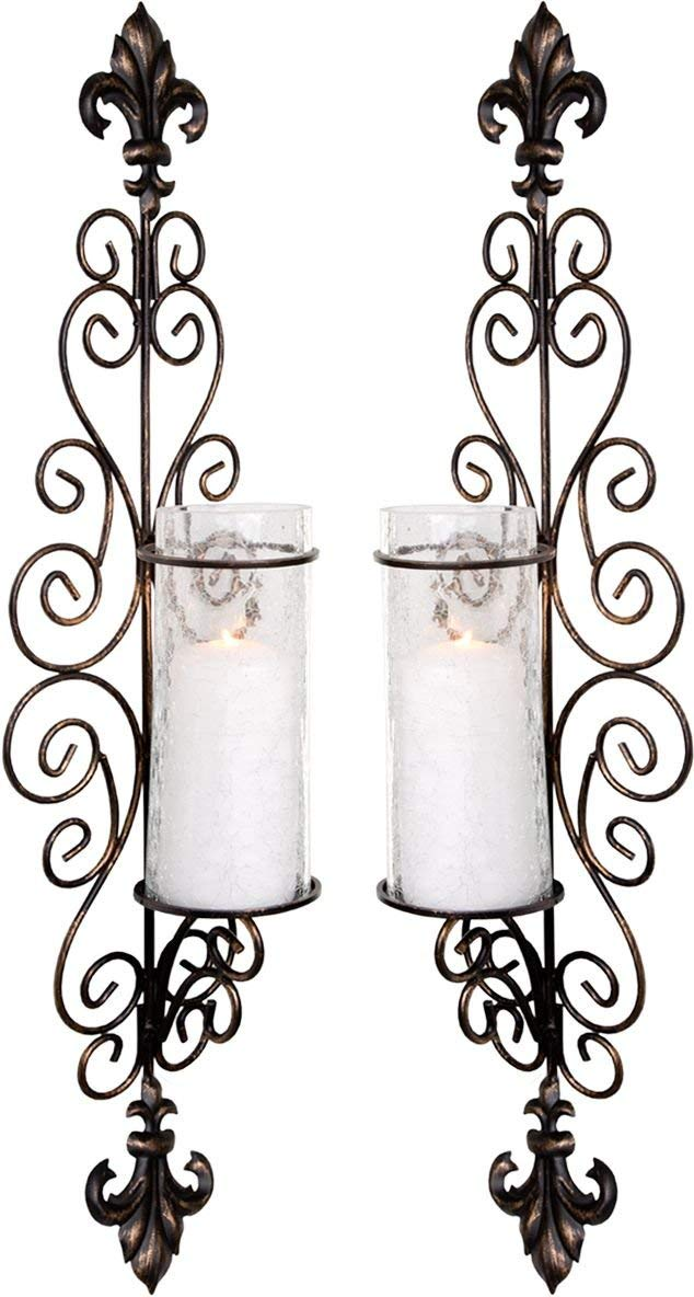 Set of Two Decorative Bronze Metal Wall Sconce and Crackle Finished Hurricane Candle Holders, Wall Lighting - Perfect for A Living Room - Dining Room Or Entry Way
