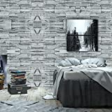 Wopeite Brick Stone Wallpaper Self Adhesive Roll Multi Brick Blocks Wall Pattern Home Room Decoration for Living room Bedroom Gray green 45 x 1000 CM