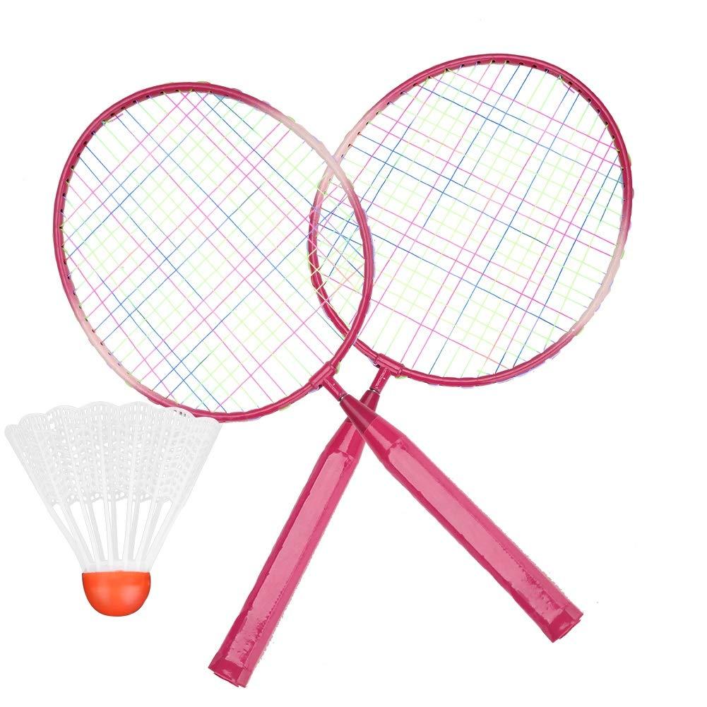 die /Übungspraxis Blau//Rosa Wolfgo Badminton-Schl/äger-haltbare Nylonlegierung Badminton-Schl/äger-Schl/äger f/ür Kinder