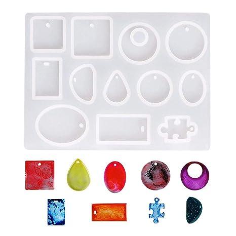 Dokpav 12 Formas Molde Silicona Resina Joyería Collar Joya Pendiente Fabricación de Colgante Creativo Bricolaje DIY