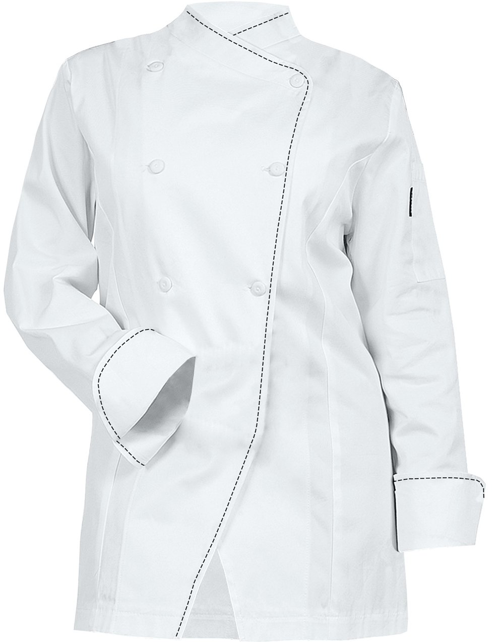 Newchef Fashion White Womens Chef Coat Black Saddle Stitch M White