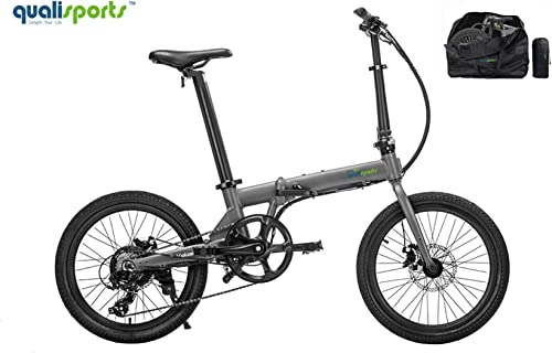 Qualisports Electric Ebike Volador 20 Folding Bicycle Free Carry Bag Approved UL2849, 36V 7Ah Battery, 350W Hub Motor, 20MPH Max Speed, 25 Miles Range, 7 Speed Shifter Bike for Adults