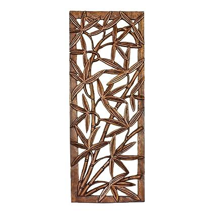 Amazon.com: Balinese Traditional Bamboo tree Carved Wood Panel Bali ...