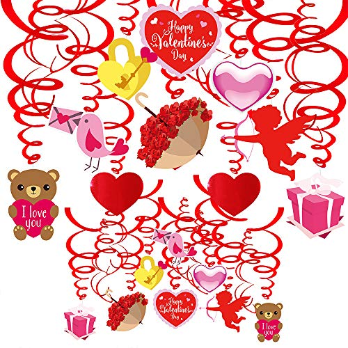 Supla 40 Pcs Valentine's Day Hanging Swirl Decorations Party Swirls with Heart Bear Assorted Cutouts Hanging Streamers Foil Hanging Ceiling Décor Swirl Streamers for Valentine's Day Party Supplies Photo Booth Backdrop