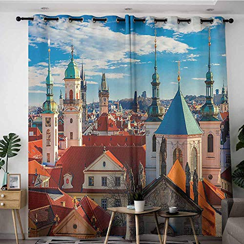 Extra Wide Patio Door Curtain,Wanderlust Decor Collection Domes of Churches Bell Tower of the Old Town Hall Powder Tower Czech Republic Photography Print,Darkening Thermal Insulated Blackout,W120x96L