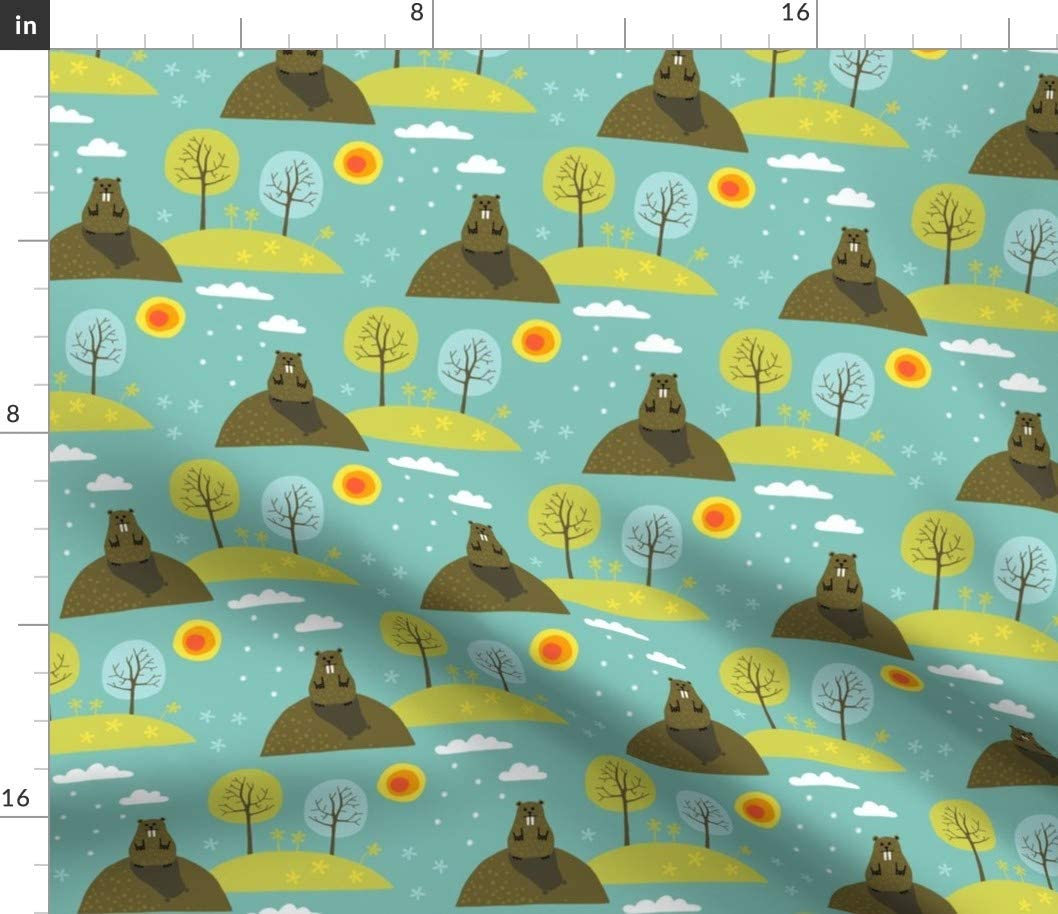 Spoonflower Fabric - Day Small Winter Springtime Spring Sun Printed on Linen Cotton Canvas Fabric by The Yard - Sewing Home Decor Table Linens Apparel Bags