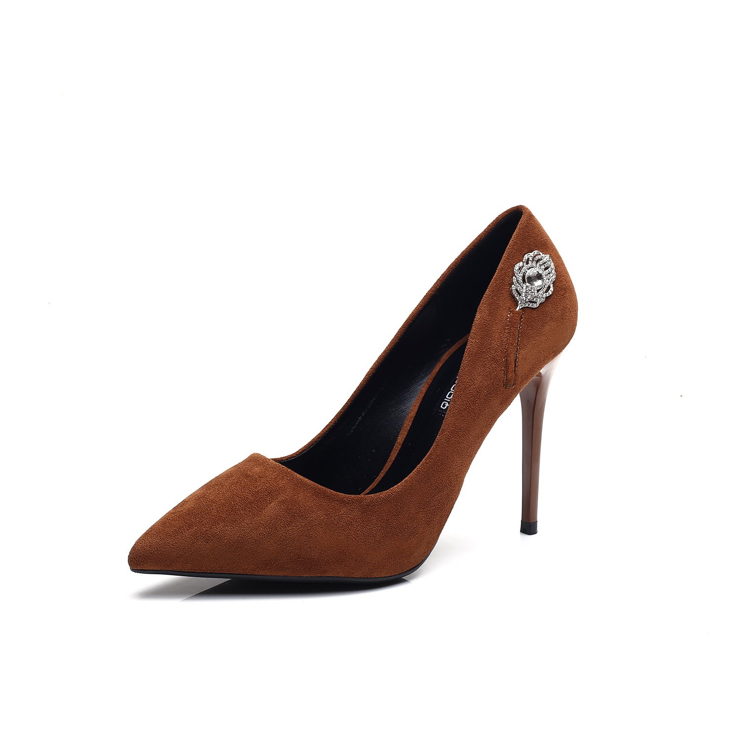 High-heeled waterproof single shoes sexy and fine-tip black women shoes wedding shoes, Brown 37