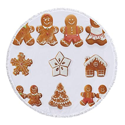 Amazon Com Iprint Thick Round Beach Towel Blanket Gingerbread Man