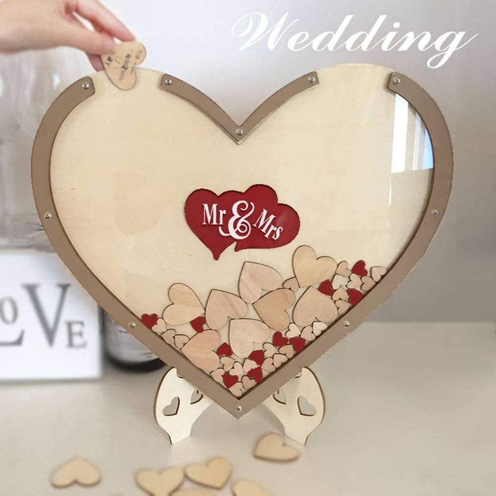 Heart Drop Guest Book Rustic Wooden Love Heart Wedding Table Scatter Decoration Crafts GXSQLW Wood Hearts Wedding Guest Book Alternative for Wedding Anniversary Gift
