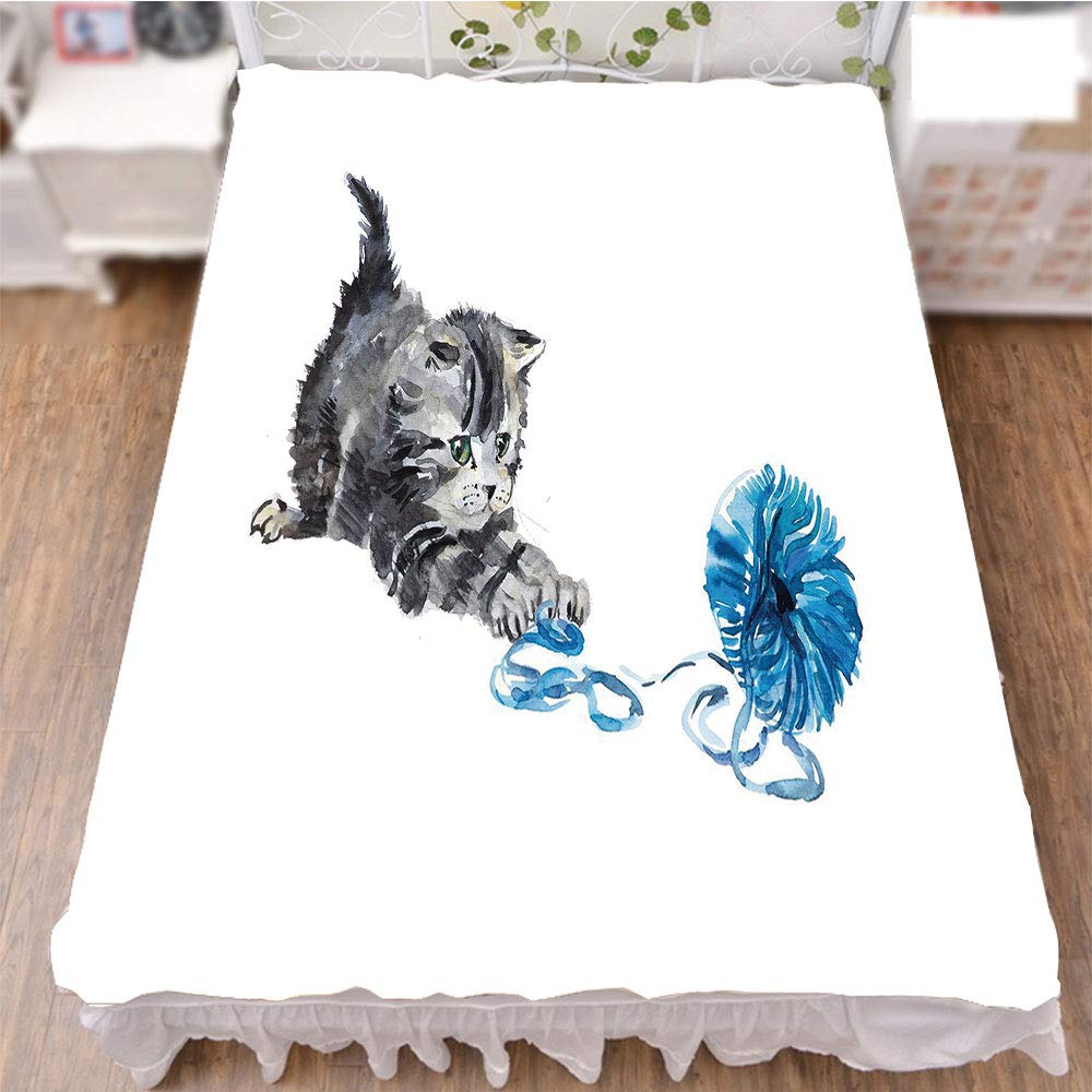 iPrint Bed Skirt Cover 3D Print,Ball of Yarn Furry Animal Domestic Feline Kids Pets,Fashion Personality Customization adds Color to Your Bedroom. by 94.5''x102.3''