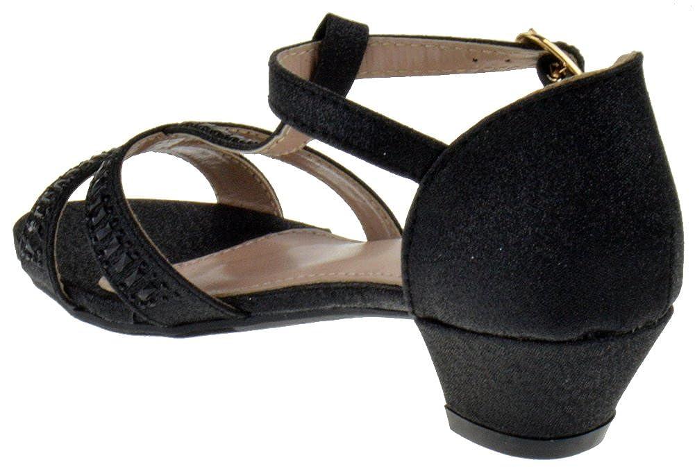 Lucky Top Ekans 3K Little Girls Heeled Gladiator Gemstone Glitter Dress Sandals