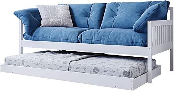 Wooden Solid Pine Sofa Trundle Bed Frame Daybed Teenager Kids Single Timber Slat - White