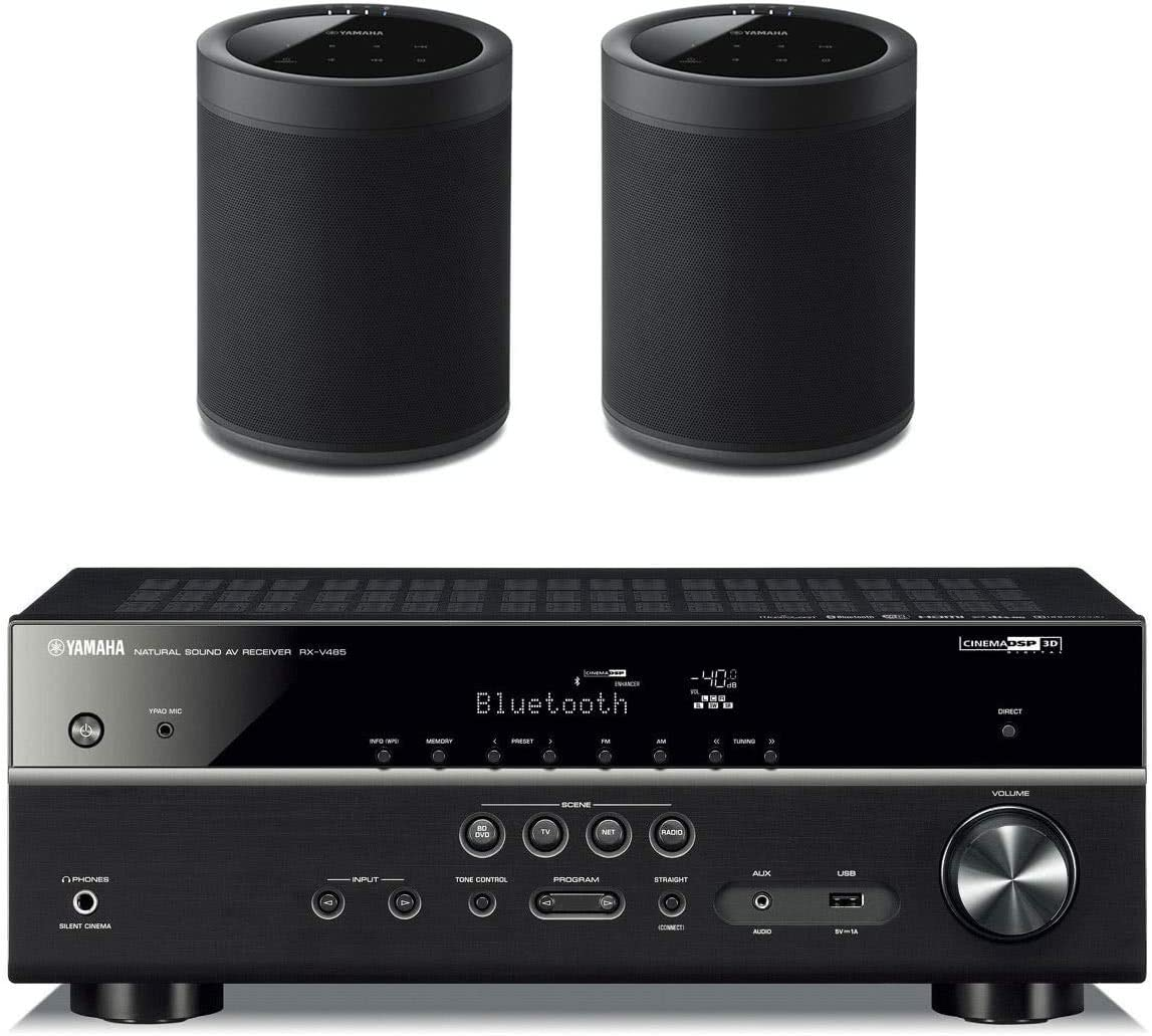 Yamaha RX-V485BL 5.1 Channel AV Network Receiver with WX-021BL MusicCast 20 Wireless Speakers – Pair Black