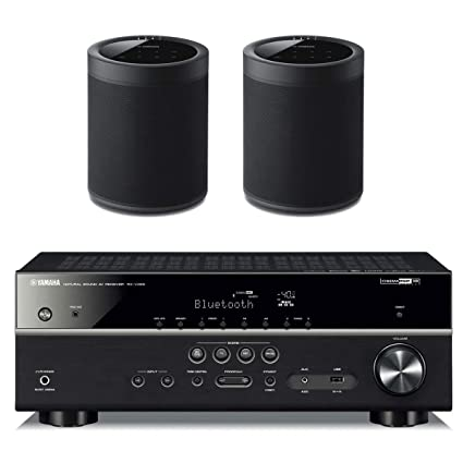 Yamaha RX-V485BL 5 1 Channel AV Network Receiver with WX-021BL MusicCast 20  Wireless Speakers - Pair (Black)
