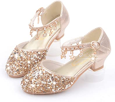 pit4tk Girls Wedding Party Shoes Glitter Sandals Mary Jane Dress Heels with Sequins