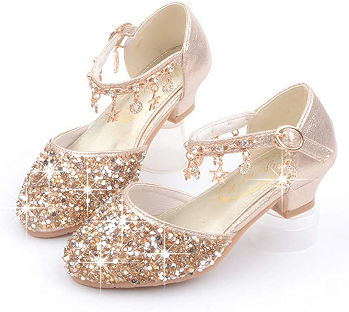 Lfht Little Kids Girls Dress Pumps Glitter Sequins Princess Low Heels Mary Jane Party Dance Shoes Rhinestone Sandals Sandals