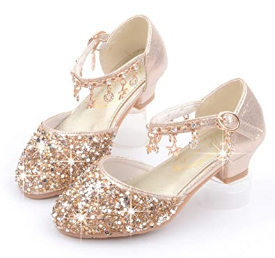 66802f54a6fa LFHT Little Kids Girls Dress Pumps Glitter Sequins Princess Low Heels Mary  Jane Party Dance Shoes